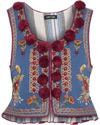 Love Sam Woman Embellished Cotton-faille Vest Azure - Blue