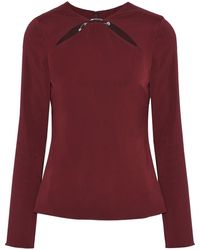 Cushnie Violetta Cutout Ring-embellished Stretch-crepe Top - Red