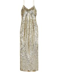 Nili Lotan Sequined Chiffon Gown - Metallic