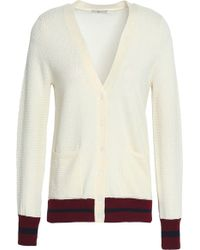 Joie - Woman Wool And Silk-blend Cardigan Ivory - Lyst
