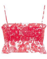 Lisa Marie Fernandez Cropped Smocked Floral-print Linen Top - Red