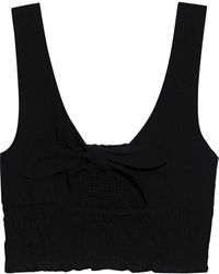 Onia Cropped Knotted Shirred Cotton-gauze Top - Black