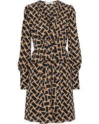 Diane von Furstenberg - Maddi Tie-front Printed Crepe Peplum Dress Mustard - Lyst