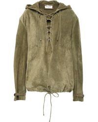 Saint Laurent Lace-up Suede Hooded Top Army Green