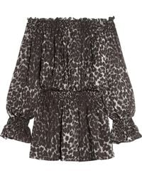 Norma Kamali - Off-the-shoulder Leopard-print Chiffon Mini Dress Animal Print - Lyst