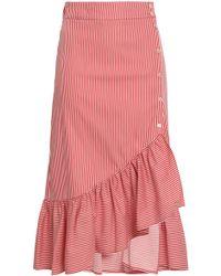 Baum und Pferdgarten Ruffled Striped Cotton-blend Poplin Midi Skirt Claret - Multicolor