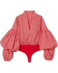 Johanna Ortiz Jicarilla Gathered Gingham Cotton-blend Bodysuit Tomato Red