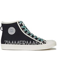 Zimmermann Appliquéd Logo-print Canvas High-top Trainers Black