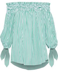 Caroline Constas - Woman Lou Off-the-shoulder Striped Cotton-poplin Top Green - Lyst