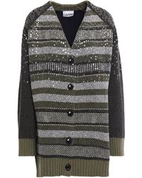 Ganni Sequin-embellished Wool-blend Jacquard Cardigan Army Green