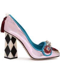 Dolce & Gabbana Embellished Mirrored-leather Pumps Baby Pink