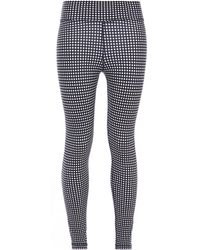 The Upside Cropped Gingham Stretch Leggings Navy - Blue