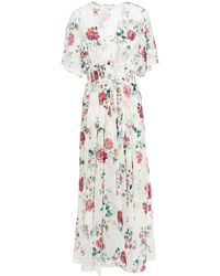Maje Shirred Floral-print Georgette Maxi Dress Ivory - White