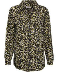 812ef7d53fe3d Equipment - Woman Signature Floral-print Washed-silk Shirt Black - Lyst