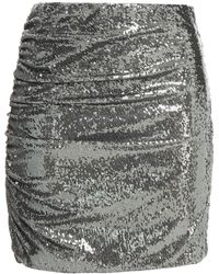 Ronny Kobo Betty Ruched Sequined Stretch-mesh Mini Skirt - Multicolour
