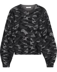 Joie Verna Printed Cotton And Cashmere-blend Sweater Dark Gray - Black