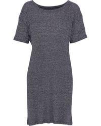 Enza Costa - Mélange Ribbed-knit Mini Dress Navy - Lyst