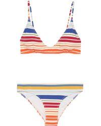 Stella McCartney Striped Triangle Bikini Multicolour