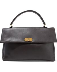 Marni - Pebbled-leather Tote Dark Brown - Lyst
