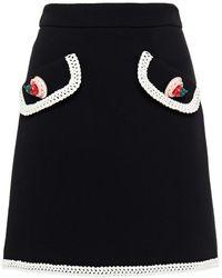 Moschino Crochet-trimmed Appliquéd Wool-blend Crepe Mini Skirt - Black