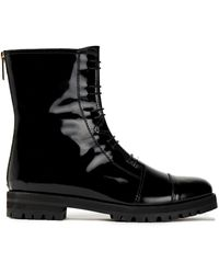 Jimmy Choo Hazel Glossed-leather Combat Boots - Black