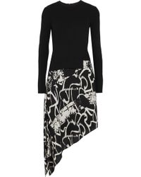 Proenza Schouler - Asymmetric Ribbed-knit And Printed Silk-crepe Dress - Lyst