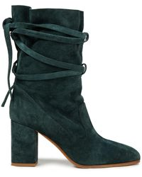 Zimmermann Lace-up Suede Ankle Boots Forest Green