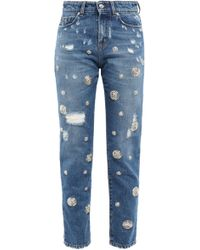 Versus Distressed High-rise Slim-leg Jeans Mid Denim - Blue