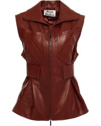 Acne Studios Pleated Leather Vest - Brown