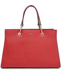 DKNY Tote Bag Aus Strukturiertem Leder Größe - Red