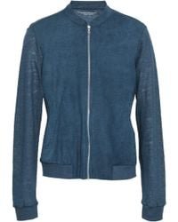 d895e35e0351 Majestic Filatures - Woman Panelled Linen And Perforated Suede Jacket Storm  Blue - Lyst