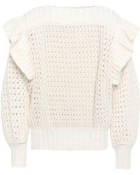 Philosophy Di Lorenzo Serafini Ruffle-trimmed Open-knit Cotton-blned Sweater Ecru - Multicolour