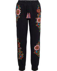 Love Sam Embroidered Cotton-fleece Track Pants Black