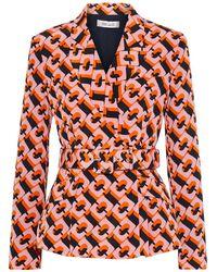 Diane von Furstenberg Halima Belted Printed Silk Crepe De Chine Blazer - Orange