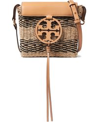 Tory Burch Leather-paneled Striped Straw Shoulder Bag Sand - Natural
