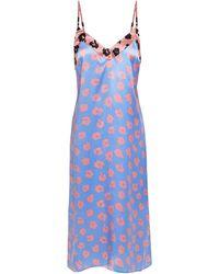 Equipment Slip Dress Aus Satin Mit Leopardenprint - Blau