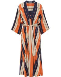 TOME Striped Twill Midi Dress Orange