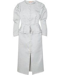 Brock Collection Striped Twill Peplum Dress Sky Blue