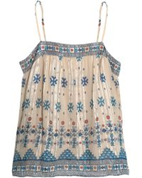 Joie - Rosenda Printed Metallic Silk-blend Chiffon Top - Lyst