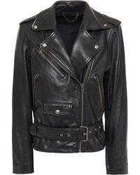 Muubaa Leather Biker Jacket - Black