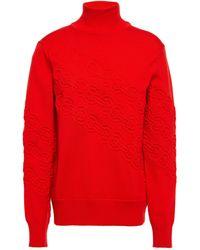 Tory Burch Embossed Merino Wool Jumper Red