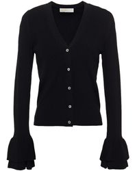 MICHAEL Michael Kors Ruffled Knitted Cardigan - Black