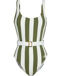 Solid & Striped The Anne Marie Belted Striped Swimsuit - Green