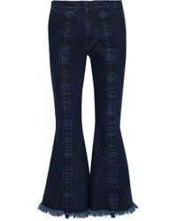 Marques'Almeida - Frayed Mid-rise Flared Jeans Dark Denim - Lyst