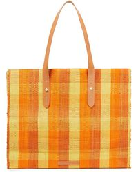 Zimmermann Leather-trimmed Checked Raffia Tote - Orange