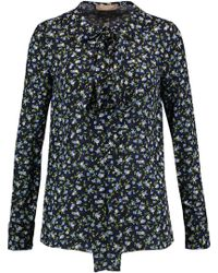 Michael Kors - Pussy-bow Floral-print Silk-crepe Blouse Midnight Blue - Lyst