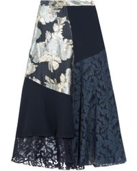 Biyan - Marine Asymmetric Panelled Brocade, Lace And Crepe Midi Skirt - Lyst
