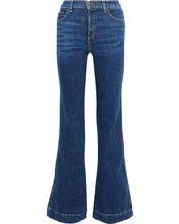 Veronica Beard Layton High-rise Flared Jeans Mid Denim - Blue