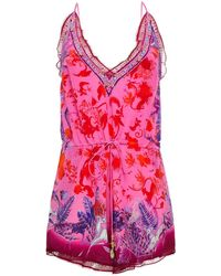 Camilla Lace-trimmed Crystal-embellished Printed Silk Crepe De Chine Playsuit Bright Pink