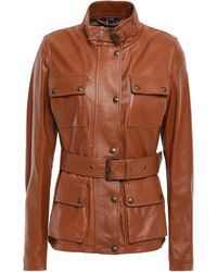 Belstaff Belted Leather Jacket Tan - Brown